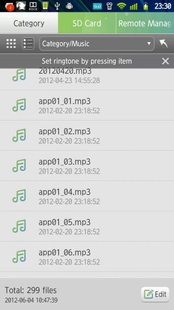 Hi Explorer:Musicのファイル一覧