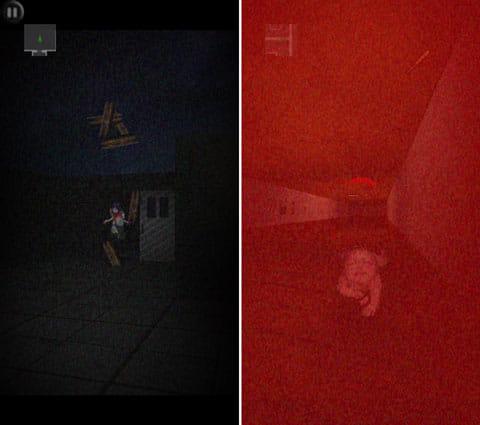 鬼が哭く島3D:血まみれの女子高生が追いかけてくる(左)幽霊らしきものに追いつかれると、恐ろしいことが…(右)