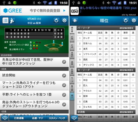 プロ野球打席速報:打席速報画面(左)順位などの成績も確認できる(右)