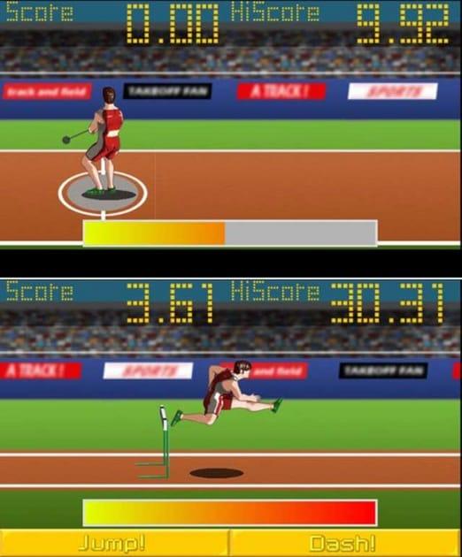 アスリートフィールド<陸上競技レース>無料ゲーム:基本はボタンをタッチするだけだが砲丸投げはスライド操作で下のゲージを上げる。(上)ハードルはリズム感良くジャンプボタンを押すのが楽しい。(下)