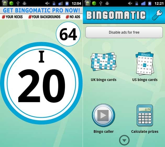 ビンゴマチック:ランダムで数字を表示(左)メニュー画面(右)