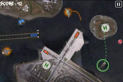 Flight Director (Lite):誘導したい飛行機をタップすると、着陸できる滑走路に矢印が表示されます