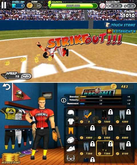 フリック・ベースボール:キャラのリアクションの多さにも注目!(上)ゲーム内ポイントでウェア購入してステータス強化していけます。(下)