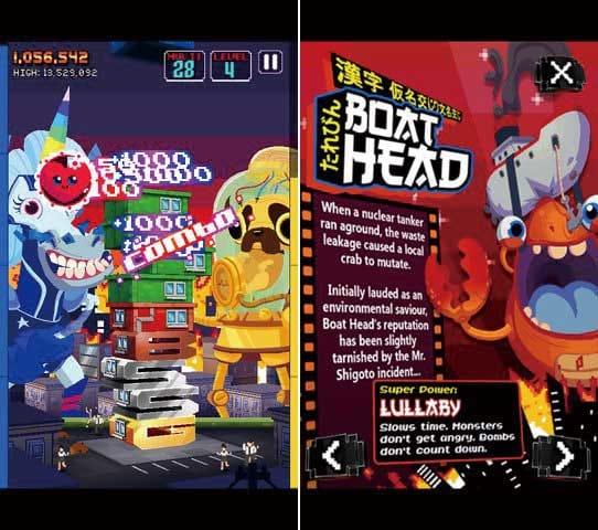 Monsters Ate My Condo:同色のフロアを3つ揃えてコンボを発生させよう。(左)「Mr. Shigoto」という日本人をおちょくった名前のモンスターもいる。(右)