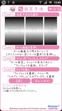 たまひよ妊娠カウンター「たまプレ」:設定画面