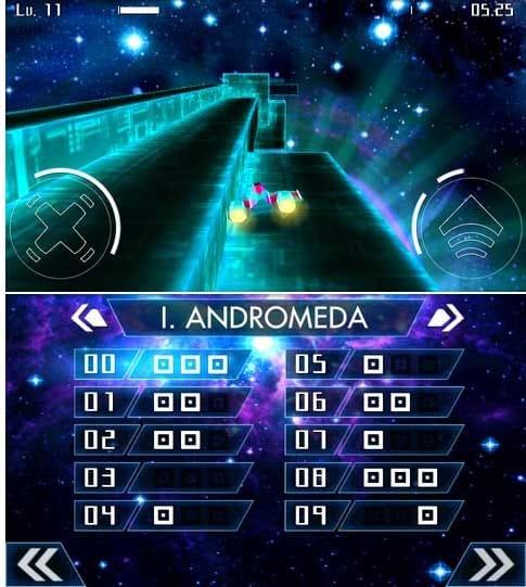 Starbounder:徐々に立体的なステージ構成になり、難易度が上がっていくぞ。(上)ステージ選択画面もスタイリッシュ!(下)