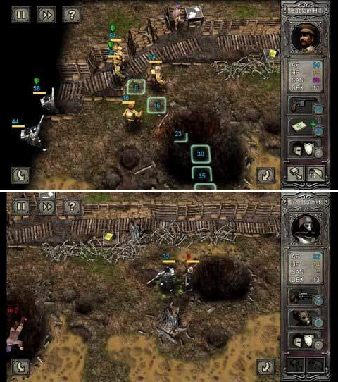 Call of Cthulhu: Wasted Land:タッチで行う操作とルールは予想以上にわかりやすい。(上)強力な武器を持つ恐怖のIron Cultistの登場はちょっとしたホラー。(下)