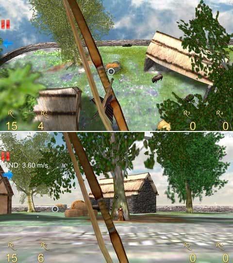 Longbow - Archery 3D Lite:木の上から射抜くのは非常に難しい。(上)女性に当てないよう慎重にリンゴを狙おう。(下)
