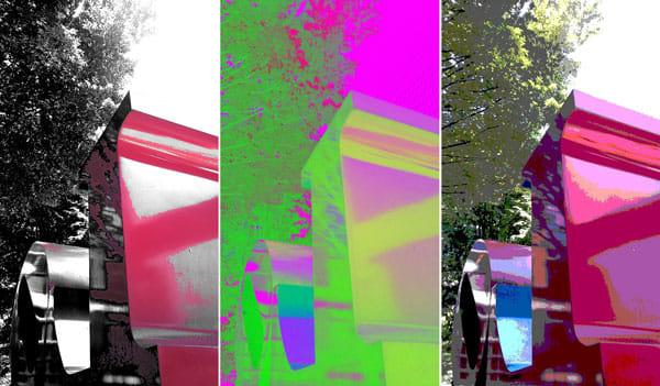 CameraNext:作例。カラーポッピング-赤(左)フィルムエフェクトのソラリゼーション-緑(中)その他のポスタリゼーション-(4階調)(右)