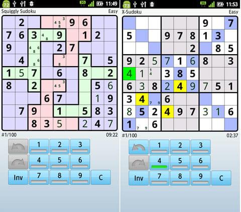 数独 Super Sudoku:「Grid style」→「Squiggly」画面(左)「Extra regions」→「X-Sudoku」画面(右)
