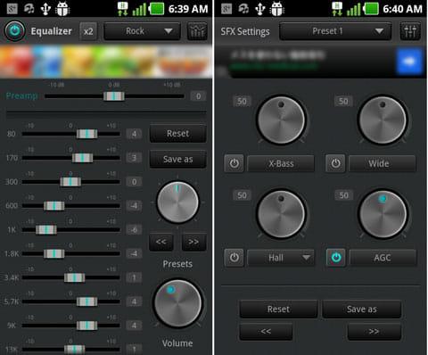jetAudio Basic:イコライザ(左)エフェクト(右)の細かい調整が可能