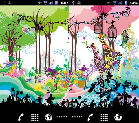 Lovely Florist ライブ壁紙 Free:風景のカラーをグリーンに設定(左)ピンクに設定(右)