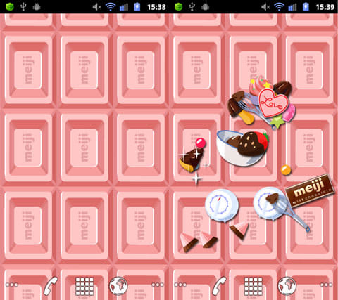ミルクチョコレート ライブ壁紙:デフォルトは板チョコのみ(左)画面タップでお菓子が出現(右)