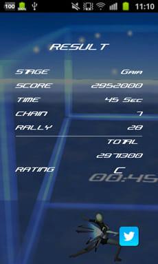 3Dブロック崩し アルテミス(無料) :アーケードモードのリザルト画面