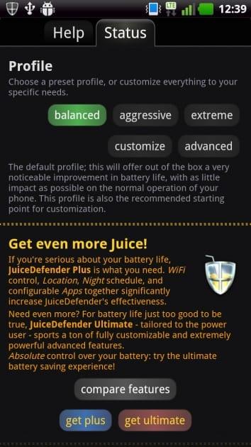 JuiceDefender - battery saver:「Profile」で節電プロフィールを設定