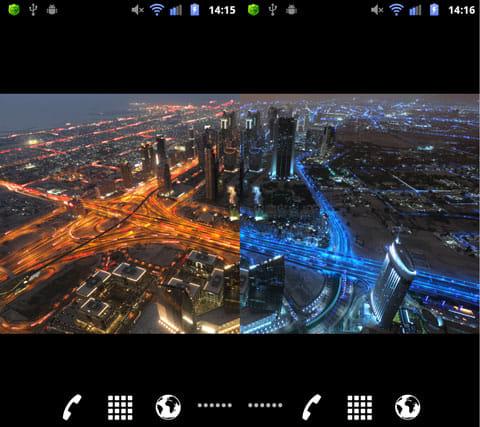 夜景都市メトロポリス ライブ壁紙:車の色を赤にした設定(左)車とフィルタの色を青に設定(右)