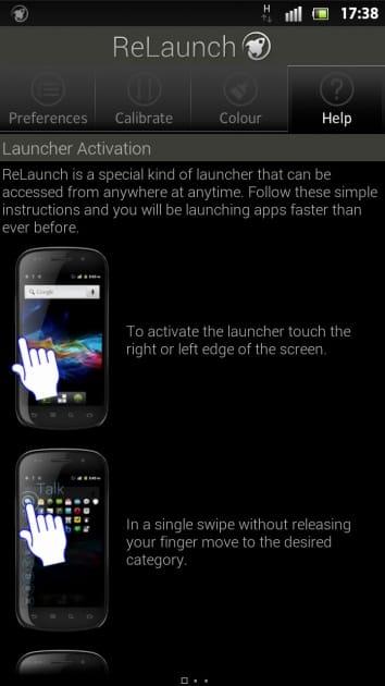 ReLaunch - Launcher:「Help」を見ながら操作できる