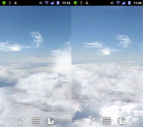 Blue Skies Free Live Wallpaper:画面のスクロールで雲の動きも変わる