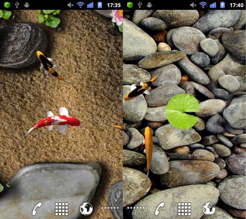 Koi Live Wallpaper:各背景の画面。「Sand & Plants」(左)「Smooth Stones」(右)