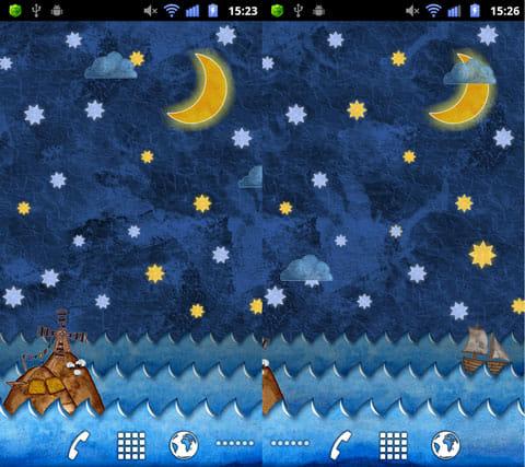 Marine Miracle Wallpaper Free:星空をバックに島が浮かぶ(左)船は画面左から右へ移動していく(右)