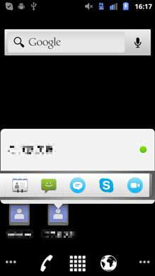 Skype:ホーム画面に配置したショートカットから、任意のアイコンをタップ