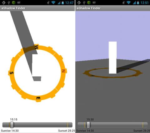 aShadow Finder:上から見た図(左)横から見た図(右)