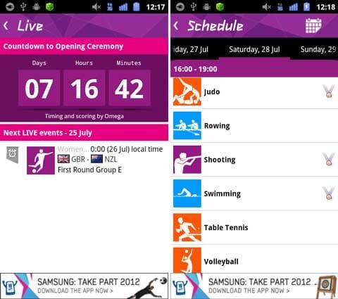 公式London 2012結果アプリ:「Live」で開催中の競技をチェック(左)「Schedule」で気になる競技を確認できる(右)