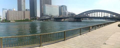 pano:パノラマ写真。川の奥行きがわかるほどうまく撮れた