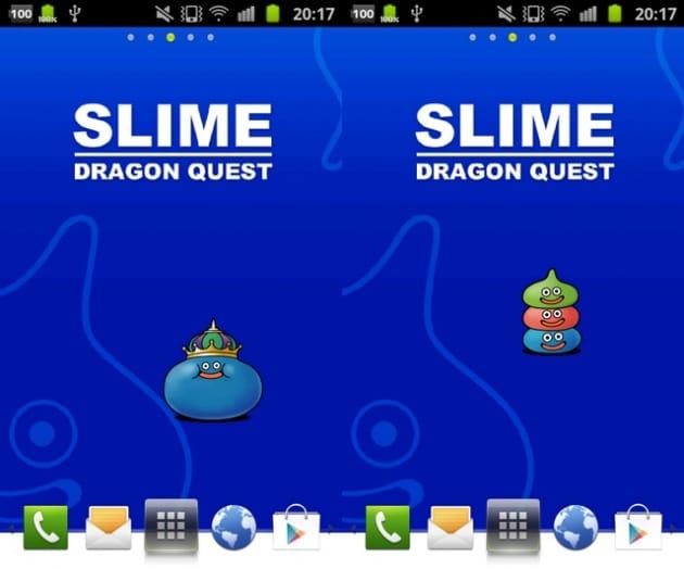 スライムライブ壁紙(ドラゴンクエスト):キングスライムに変身(左)スライム3兄弟?!(右)