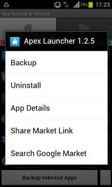 App Backup & Restore:アプリ単体のバックアップメニュー