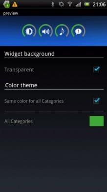 Slider Widget - 音量:カラーと背景設定画面