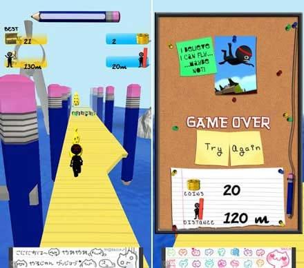 ドラマー·ラン:うまく障害物を避けながらコインを集めよう。(左)ゲームが終わってスコアが出ると、死に方によって色々なコメントが出るのがおもしろい。(右)
