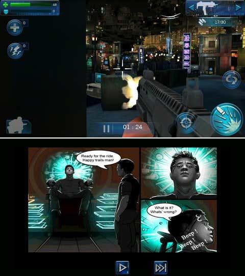 Total Recall:近未来な都市を舞台に銃弾をぶっ放すのは爽快!(上)ストーリー部分はアメコミ風。(下)
