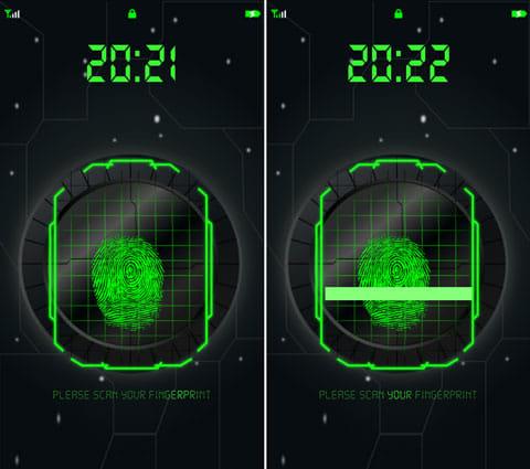 指紋スキャナフリー:指紋認証で開くように見える(左)スキャン回数は1~10回で設定できる(右)