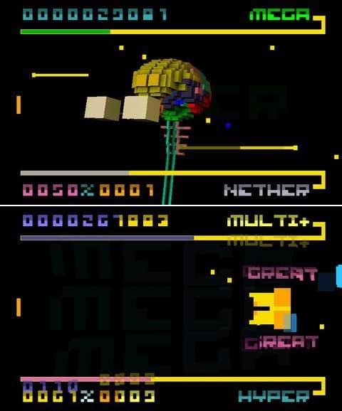 BIT.TRIP BEAT:3Dで描写される背景グラフィックにも注目。(上)ステージの最後にはボス戦も発生する。(下)