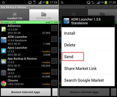 App Backup & Restore:「Archived」タブ画面(左)アプリ単体のリストアメニュー(右)