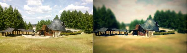 AfterFocus:元画像(左)建物を加工すると、ミニチュア風になった(右)