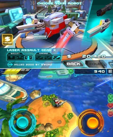Armorslays:パーツをカスタムして戦場へ。(上)近接攻撃も可能だが、敵機の爆発に巻き込まれることも。(下)