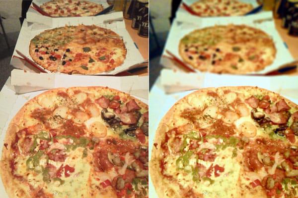 AfterFocus:元画像(左)加工した料理写真の方が、おいしそうに見える(右)