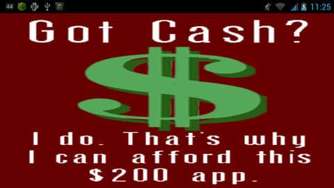 Got Cash?:表示されるのはこの1画面のみ!縦でも表示可能