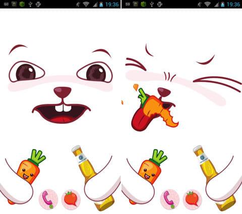 MXLock _ manager:画面いっぱいに表示されるうさぎちゃん(左)人参を食べるとこのようになる(右)