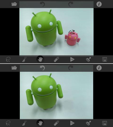 TouchRetouch:ギャラリーにあった写真(左)画面下のツールを使って不必要なものを削除成功(右)