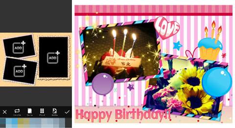 PicsArt - 写真スタジオ:フレームを使ったコラージュ作成画面(左)コラージュ作成例(右)