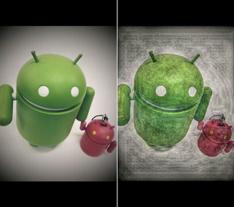 Painteresque:元画像(左)加工後「Painteresque 1」を選択。ドロイドくんがアートに!(右)
