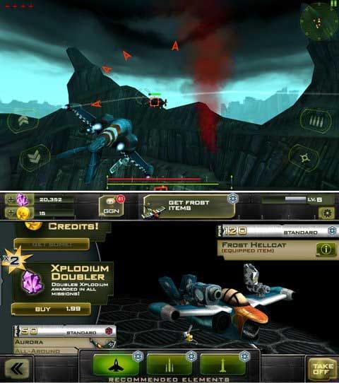 BOMBSHELLS: HELL'S BELLES:画面をスライドして急旋回で敵弾を避けろ!スマホでの操作性も快適。(上)戦闘機の右翼と左翼それぞれに武器が装備可能。(下)