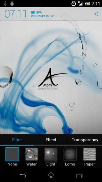 アトムランチャー (Atom Launcher):かけることで雰囲気が一変する「エフェクト設定」の画面