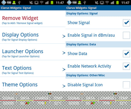 Clarus Widgets:「Display Options」から表示内容を設定(左)画面下にウィジェットが表示されているので、内容を確認しながらチェックを入れる(右)