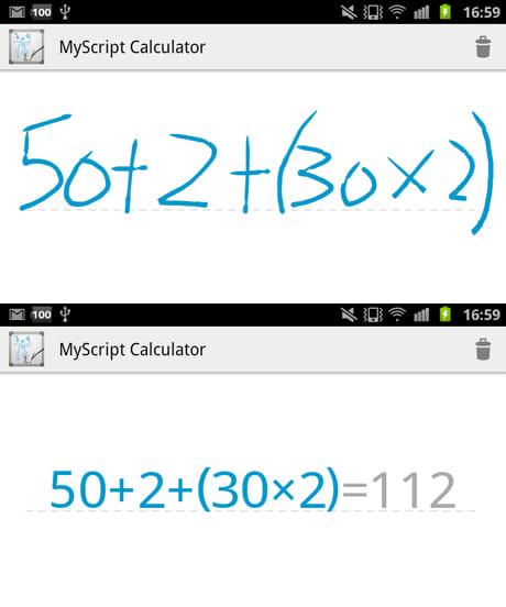 MyScript Calculator:計算式を手書き入力(上)すぐに変換され答えも出る(下)