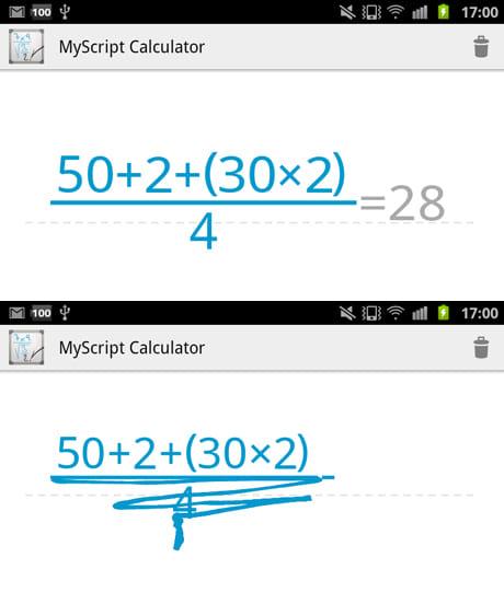 MyScript Calculator:後から計算式を追加できる(左)修正箇所は上からぐしゃぐしゃしても消すことができる(下)