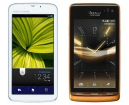 au「AQUOS PHONE CL IS17SH」(左)「URBANO PROGRESSO」(右)